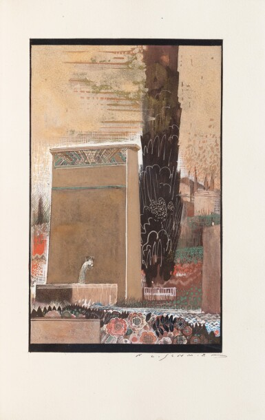 "View 3. Thumbnail of Lot 163. Le Cantique des cantiques. 1925. Laque de Dunand, 1/6 ex de collaborateurs, un dessin original ""."