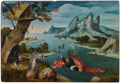 View 1. Thumbnail of Lot 4. Saint Christopher carrying the Christ Child in an extensive river landscape   《聖克里斯多福揹著聖嬰橫渡大河》.