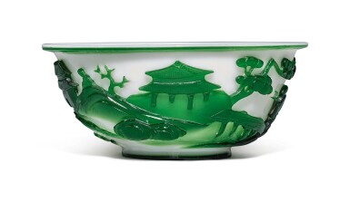 View 2. Thumbnail of Lot 1020. A GREEN OVERLAY WHITE GLASS 'FIGURAL' BOWL, QING DYNASTY, 19TH CENTURY.