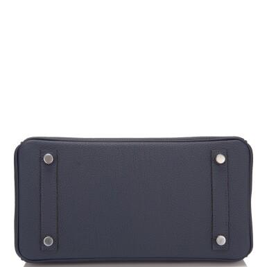 View 5. Thumbnail of Lot 4. Hermès Bleu Nuit Birkin 25cm of Togo Leather with Palladium Hardware.