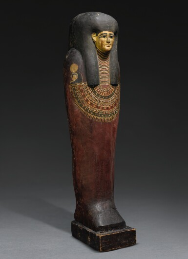 View 2. Thumbnail of Lot 64. AN EGYPTIAN POLYCHROME AND GILT ANTHROPOID INNER COFFIN OF THE SISTRUM-PLAYER TA-GEM-EN-HOR, MACEDONIAN/EARLY PTOLEMAIC PERIOD, CIRCA 332-290 B.C..
