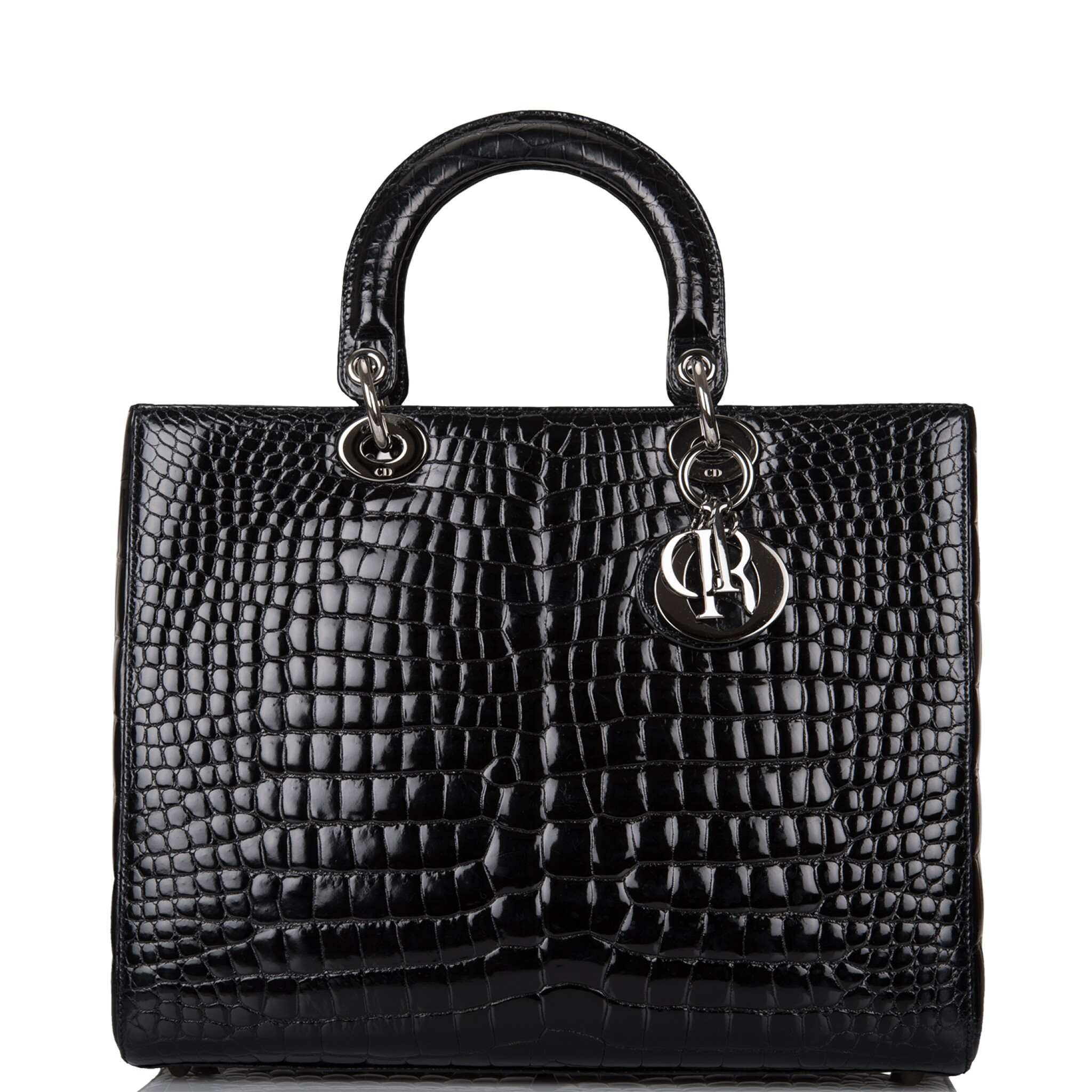 View full screen - View 1 of Lot 105. CHRISTIAN DIOR    BLACK SHINY NILOTICUS CROCODILE LARGE LADY DIOR BAG WITH RUTHENIUM HARDWARE.