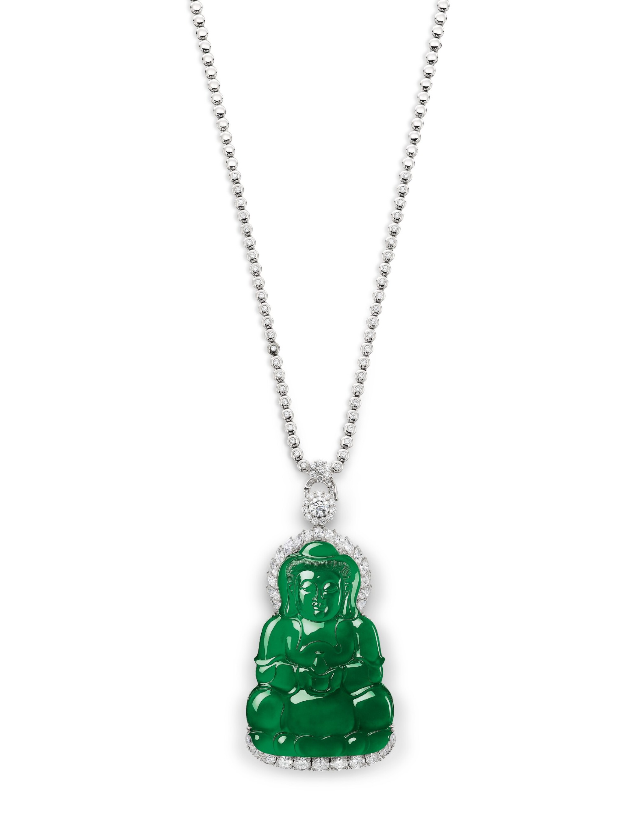 View full screen - View 1 of Lot 1685. Jadeite 'Guanyin' and Diamond Pendent Necklace | 天然翡翠雕「觀音」配 鑽石 項鏈.