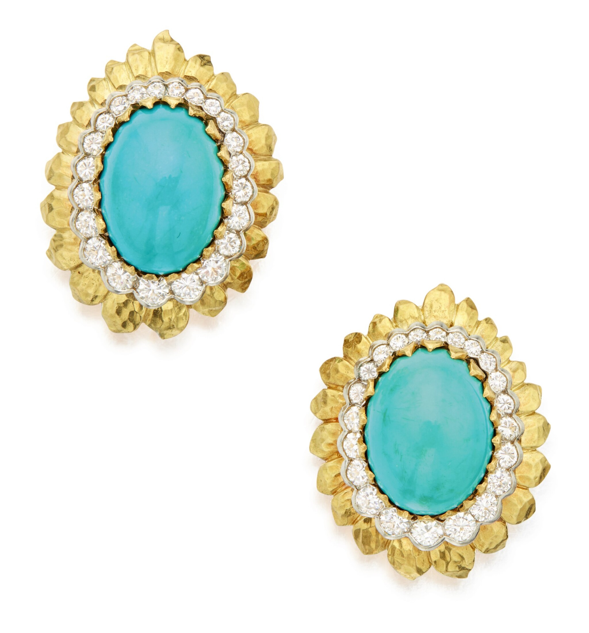 View full screen - View 1 of Lot 304. PAIR OF GOLD, TURQUOISE AND DIAMOND EARCLIPS, DAVID WEBB .