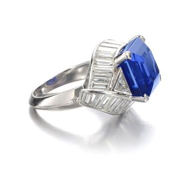View 2. Thumbnail of Lot 159. Fine Sapphire and diamond ring   藍寶石配鑽石戒指.