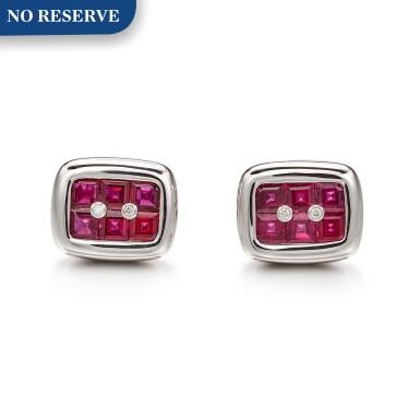 View 1. Thumbnail of Lot 1030. Pair of Ruby and Diamond Cufflinks   格拉夫  紅寶石 配 鑽石 袖扣一對 (紅寶石共重約3.70克拉).