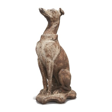 A CAST IRON GREYHOUND DOOR STOP TOGETHER WITH A DOG KEYHOLDER