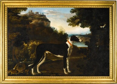 MICHELE PACE, CALLED MICHELANGELO DEL CAMPIDOGLIO | Portrait of a black and white greyhound belonging to the Chigi family, standing in a mountainous landscape | 米謝爾・佩斯 - 或稱米開朗基羅・德・坎皮多里奧 |《基吉家族之黑白色獵犬站於山景中的肖像》