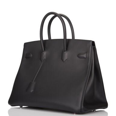 View 5. Thumbnail of Lot 32. Hermès Black Shadow Birkin 35cm of Swift Leather.