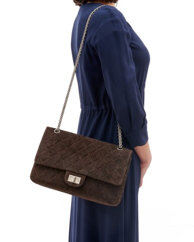 View 5. Thumbnail of Lot 61. Dark brown suede leather and silver-tone metal 2.55 reissue shoulder bag.