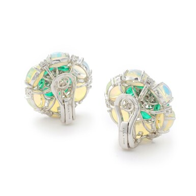 View 3. Thumbnail of Lot 14. MICHELE DELLA VALLE   PAIR OF EMERALD, OPAL AND DIAMOND EAR CLIPS.