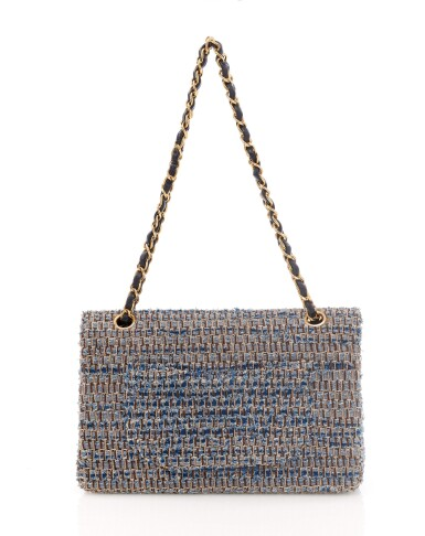 View 2. Thumbnail of Lot 110. Denim and wool tweed with silver-tone metal classic shoulder bag.