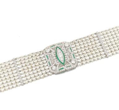 View 3. Thumbnail of Lot 145. Seed pearl, diamond and emerald collier de chien (Collana in microperle, diamanti e smeraldi).