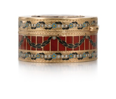 View 6. Thumbnail of Lot 10. A GOLD, HARDSTONE AND ENAMEL SNUFF BOX, JOHANN CHRISTIAN NEUBER, DRESDEN, CIRCA 1775.