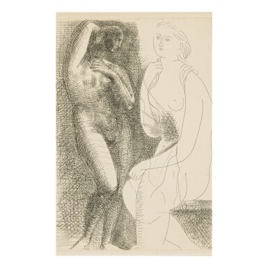 PABLO PICASSO   FEMME NUE DEVANT UNE STATUE (B. 139; BA. 205)