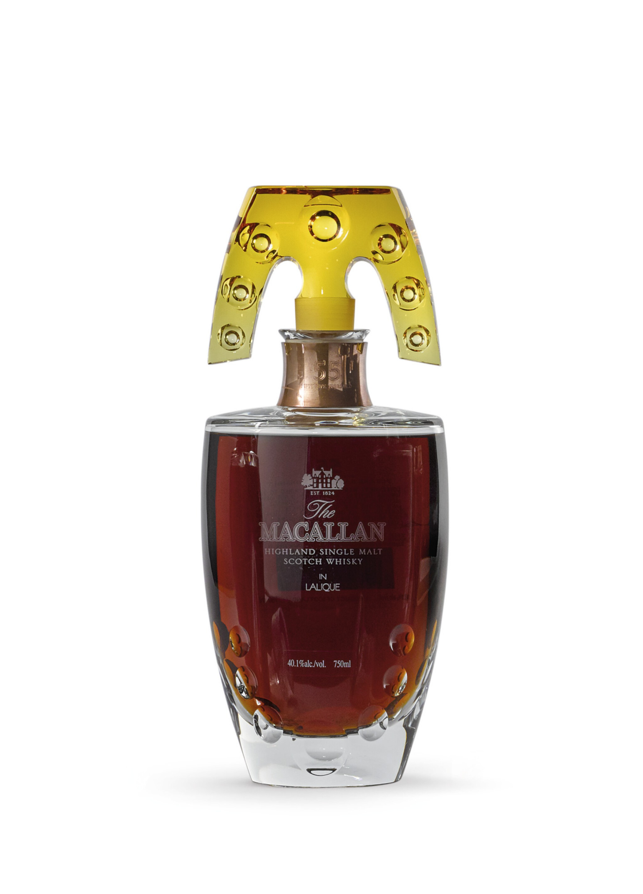View full screen - View 1 of Lot 2002. The Macallan In Lalique - Natural Colour Decanter, 55 Years Old.