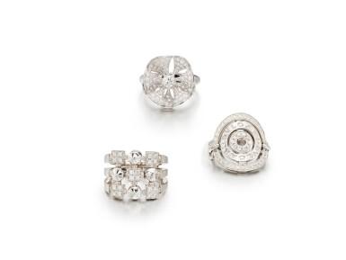 View 1. Thumbnail of Lot 1783. Three Gold and Diamond Rings | 寶格麗 | K金 配 鑽石 戒指三枚.