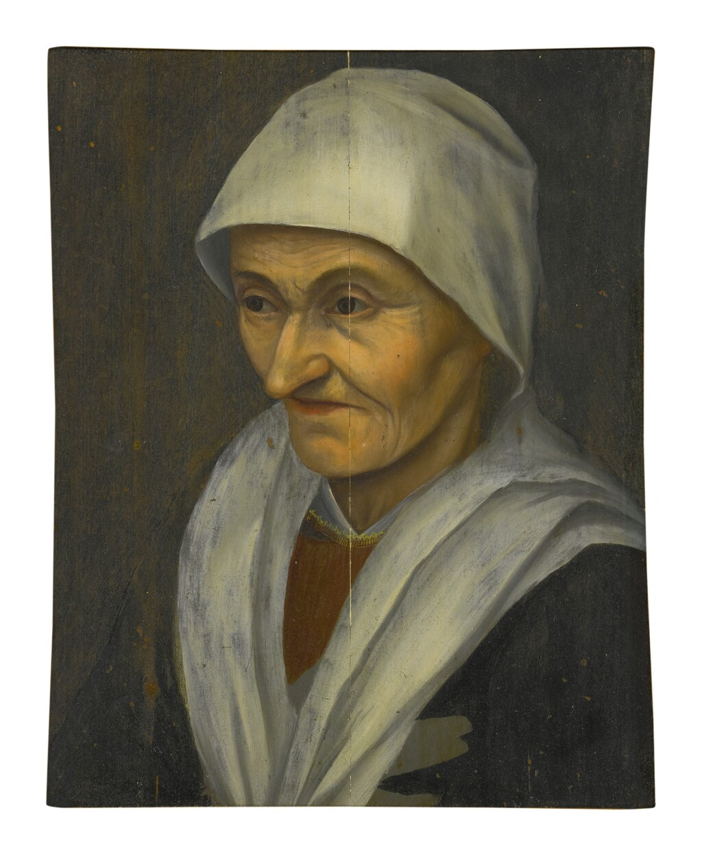 MANNER OF PIETER BRUEGEL THE ELDER   PORTRAIT OF A PEASANT WOMAN, HALF LENGTH, FACING LEFT