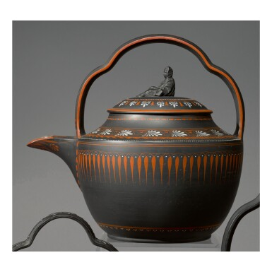 A WEDGWOOD BLACK BASALT 'ENCAUSTIC'-DECORATED RUM KETTLE AND COVER CIRCA 1800