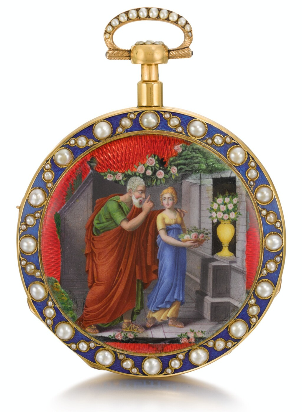 'THE OFFERING'  SWISS | A GOLD, ENAMEL AND PEARL-SET QUARTER REPEATING MUSICAL WATCH MADE FOR THE CHINESE MARKET  CIRCA 1820