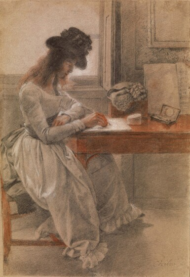 View 1. Thumbnail of Lot 19. JOHAN JOSEPH ZOFFANY, R.A.   THE ARTIST'S DAUGHTER, CECILIA, SEATED AT A WRITING DESK .