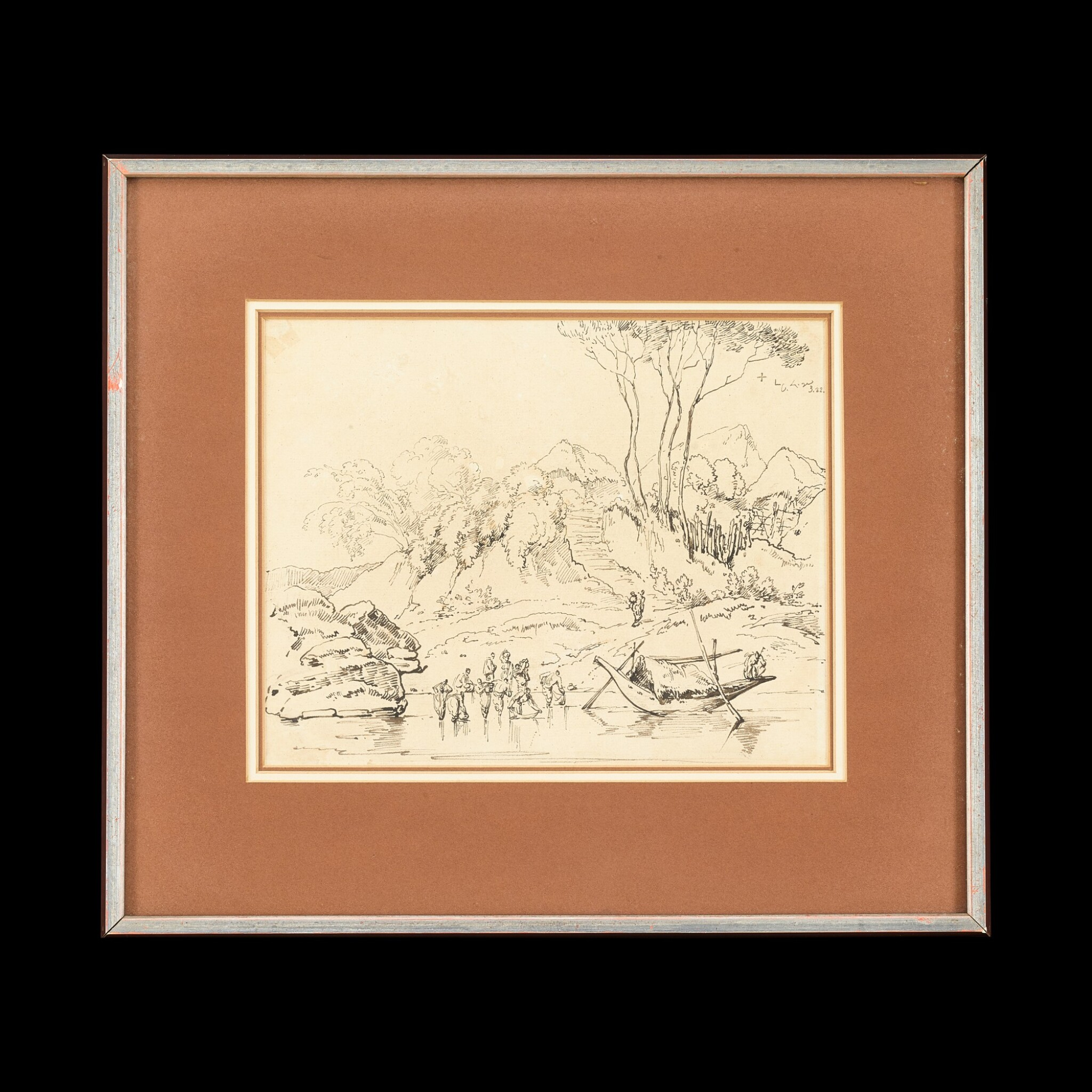 View full screen - View 1 of Lot 201. George Chinnery (1774-1852), 1822 Indian Figures and a Boat at a River | 錢納利(1774-1852年) 1822年   素描印度河岸風光圖   紙本鋼筆及墨水 鏡框.