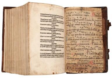 View 1. Thumbnail of Lot 110. Dutch Prototypographer, Inventory, single sheet, [Utrecht, 1460s], in binding of Eck, Homiliarius, 1536-1540.