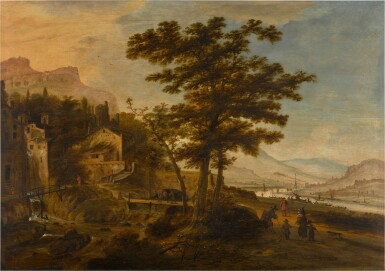 View 1. Thumbnail of Lot 36. An extensive mountainous and river landscape with a village.