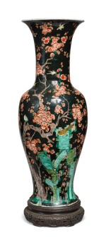 A LARGE FAMILLE-NOIRE 'MAGPIE AND PRUNUS' YENYEN VASE, THE PORCELAIN 18TH CENTURY, THE ENAMELS LATER-ADDED