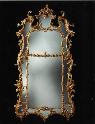 View 3. Thumbnail of Lot 246. A GEORGE III CARVED AND GILTWOOD MIRROR, CIRCA 1765.