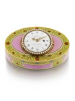 A PEARL, GOLD AND ENAMEL WATCH AND MUSICAL SNUFF BOX FOR THE OTTOMAN MARKET, ALEXANDRE MAGNIN, GENEVA, 1812-1830