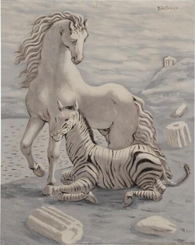 View 1. Thumbnail of Lot 72. Cavallo e zebra in riva al mare (Horse and Zebra by the Sea).
