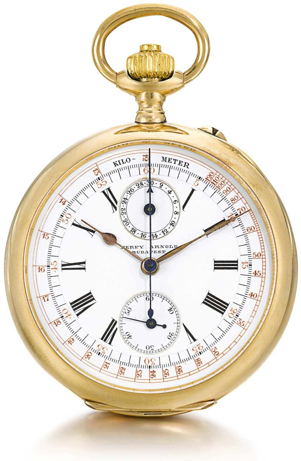 LONGINES | RETAILED BY HERPY ARNOLD, BUDAPEST: A GOLD OPEN-FACED KEYLESS LEVER CHRONOGRAPH WATCH WITH VERTICAL REGISTER AND TACHYMETER SCALE  CIRCA 1900