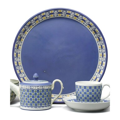 A WEDGWOOD THREE-COLOR JASPER-DIP CIRCULAR TRAY AND A CUP AND SAUCER CIRCA 1850 AND LATE 18TH CENTURY