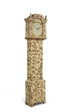 EXCEPTIONAL FEDERAL PAINT AND SMOKE-DECORATED PINE TALL-CASE CLOCK, WORKS BY SILAS HOADLEY, PLYMOUTH, CONNECTICUT, CIRCA 1810-20