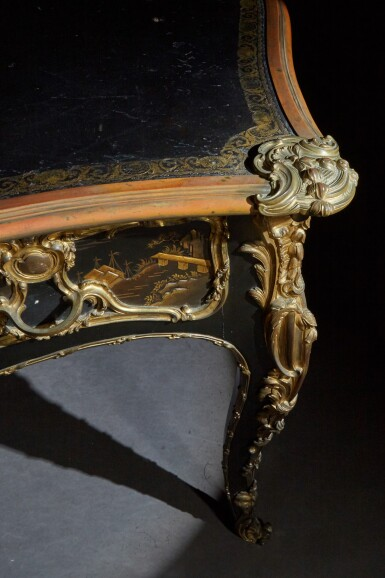 View 5. Thumbnail of Lot 12. A LOUIS XV STYLE GILT-BRONZE MOUNTED JAPANESE BLACK LACQUER AND VERNIS MARTIN BUREAU PLAT, AFTER A MODEL BY JACQUES DUBOIS, LATE 19TH CENTURY.