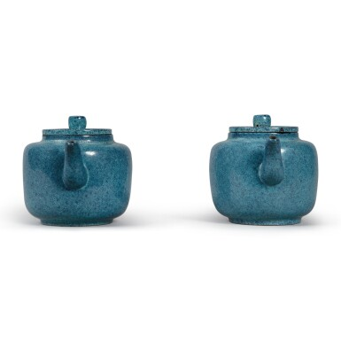 View 4. Thumbnail of Lot 29. A pair of 'robin's egg'-glazed Yixing teapots and covers, Late Qing dynasty.