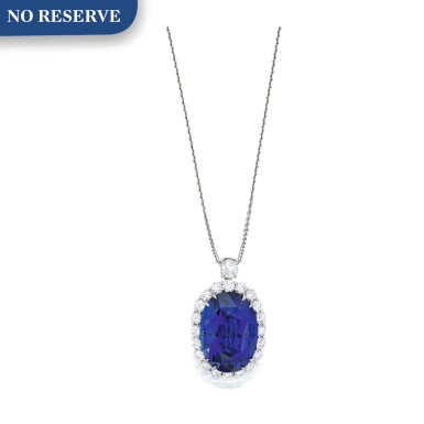 View 1. Thumbnail of Lot 206. Sapphire and Diamond Pendant-Necklace.