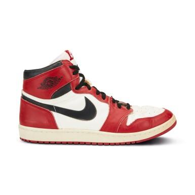 View 5. Thumbnail of Lot 803. Michael Jordan Game Worn 1985 Player Sample Air Jordan 1s | Sizes 13, 13.5.