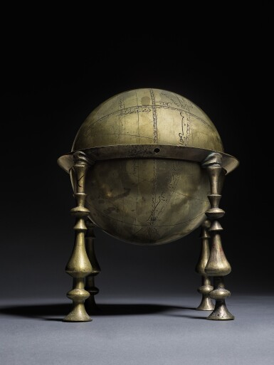 View 4. Thumbnail of Lot 125. AN ELEGANT SAFAVID CELESTIAL GLOBE AND FRAME, PERSIA, 17TH CENTURY, PROBABLY ISFAHAN.