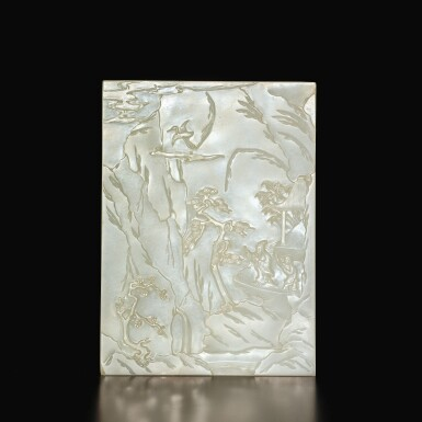 View 2. Thumbnail of Lot 686. AN EXCEPTIONAL WHITE JADE 'RED CLIFFS' TABLE SCREEN, QING DYNASTY, QIANLONG PERIOD.
