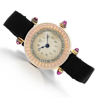 View 1. Thumbnail of Lot 185. Lady's gem set and enamel wristwatch.