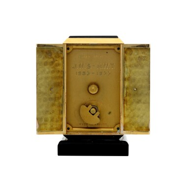 View 5. Thumbnail of Lot 87. A FINE AND RARE YELLOW GOLD, ONYX, ENAMEL AND DIAMOND-SET KEY-LESS DESK TIMEPIECE WITH FOLDING DIAL, CIRCA 1930.