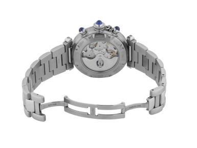 View 3. Thumbnail of Lot 17. CARTIER   PASHA, REF 2113 STAINLESS STEEL CHRONOGRAPH WRISTWATCH WITH DATE AND BRACELET CIRCA 2000.