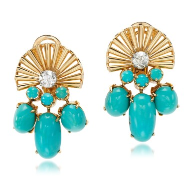 View 1. Thumbnail of Lot 85. Pair of turquoise and diamond ear clips, circa 1945.