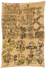 A NEEDLEWORK 'SPOT MOTIF' SAMPLER, ENGLISH, 17TH CENTURY