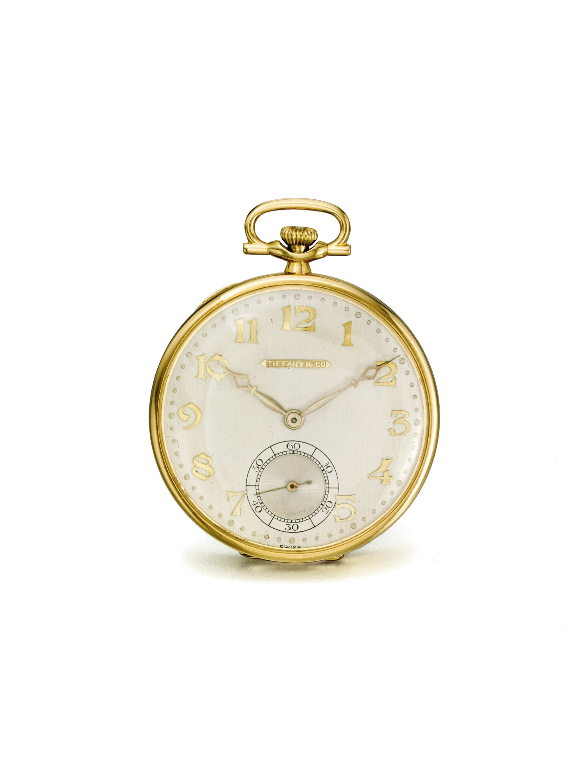 LONGINES | RETAILED BY TIFFANY & CO.: A PLATINUM AND YELLOW GOLD OPEN FACED WATCH CIRCA 1925