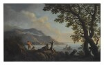 ANDREA LOCATELLI | A COASTAL SCENE WITH MOUNTAINS IN THE DISTANCE