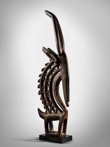 View 1. Thumbnail of Lot 36. Bamana Vertical Antelope Headdress, Mali.
