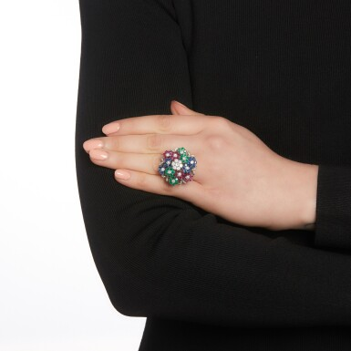 View 4. Thumbnail of Lot 48. Nardi, attributed to | Gem-set and diamond ring, 1960s.